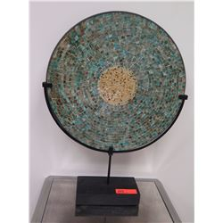 """Mosaic Tile Covered Disk w/Black Metal Stand Approx 22"""" x 29.5"""""""