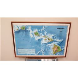 """Framed Map of Hawaii, National Geographic Approx35.25"""" x 23.75"""""""