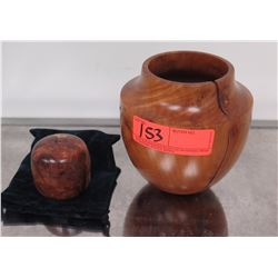 Wooden Vessel & Small Wooden Bowl - large vessel has crack, both have rounds holes drilled underneat