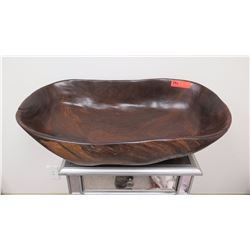 """Large Oblong Carved Wooden Bowl, Dark Wood, Cracks & Imperfection Underneath 32"""" x 17.5"""" x 8.5"""""""