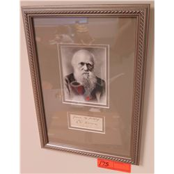 "Original Signature of Charles Darwin on 4 1/2"" x 1 3/4"" Closing Segment of Letter, Framed"