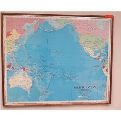 """Framed Map of Pacific Ocean, Approx 42.5"""" x 35"""""""
