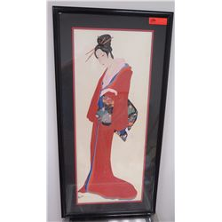 """Framed Art: Woman in Red Kimono, Printed on Silk, Signed, 22"""" x 44"""""""
