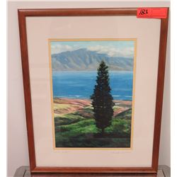 """Framed Art: """"Lone Pine"""" Print, by Mike Carroll, Signed, 17.5"""" x 21.5"""""""