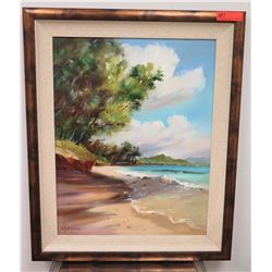"Framed Art: ""Kailua Sands"" Original Canvas, by S.Y. Anderson, Signed"