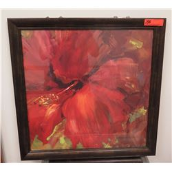 Framed Art: Red Hibiscus Print, by Carol Hallock, Signed