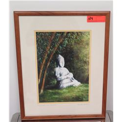 "Framed Art: ""Buddha and Bamboo"" Print, by Mike Carroll, Signed, 16"" x 21.5"""