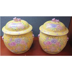 "Pair: Yellow Japanese Ginger Jars w/Floral Motif, Approx. 7"" W"
