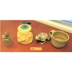 "Misc. Lot: Carved Stone Fu Dog, ""What the IRS Missed"", Enameled Frog (Brass?),"