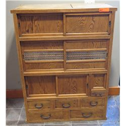 Furniture - Antique Cabinet w/Drawers, Origin Unknown, Wood Split in a Few Areas