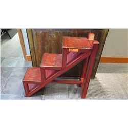 "Furniture - Red Weathered, Lacquered Step Shelving Unit, 31.5"" x 10.5"" x 31.75"""
