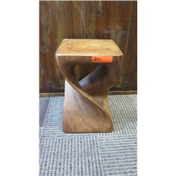 "Furniture - Carved Hardwood ""Twist"" Side Table/Stand, 12"" x 12"" x 18"""