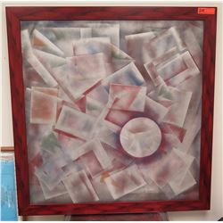 Framed Art: Abstract Geometric Shapes on Wood Board, JJ Crutchfield, Signed, 41x42