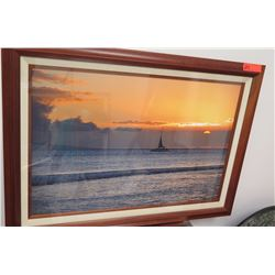 Framed Art: Photographic Print, Sailboat at Sunset