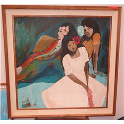 Framed Art: Three Girls w/Hibiscus, Canvas, by Luigi Fumagalli, Signed