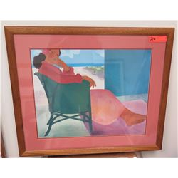 "Framed Art: Woman in Chair by Pegge Hopper, Signed on Back Approx 31"" x 26.5"""