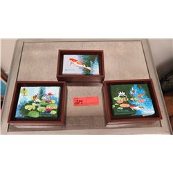 "Framed Art: Mini Trio (Koi Lillypads) by Jan Shaner, Signed Approx (6.5"" x 4.5""), 2(6.5"" x 5.5"")"