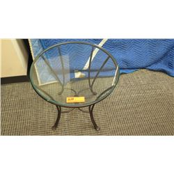 Round Glass Table w/Wrought Iron Base