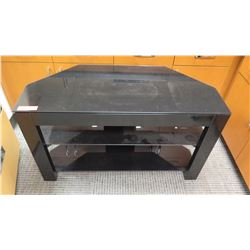 Black Lacquered TV Stand w/ 2 Shelves