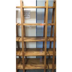 "Furniture - Wooden Shelving Unit, 5-Shelves, Ladder Style, Teak? Approx 30"" x 16.5"" x  73"""