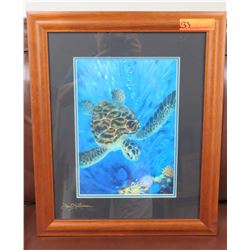 "Framed Art: Honu Turtle, by Dennis Mathewson, Signed Approx 19.5"" x 23.5"""