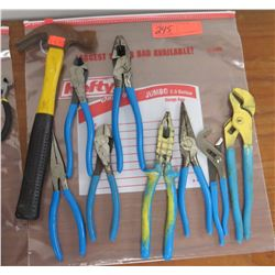 Lot of Misc. Hand Tools: Hammer, Pliers, Cutters, Slip Joint Pliers