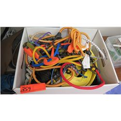 Box of Misc. Bungee Cords, Rope, Cords, Straps