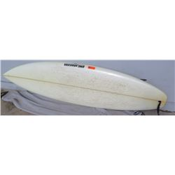 "Surfboard: 7'2 Custom, Erik Arakawa (Hawaii), White, Approx 22.25"" x 84"""