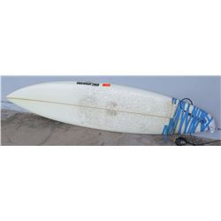 "Surfboard: 7'10 Custom, Erik Arakawa (Hawaii), White, Approx 22.5"" x 94"""