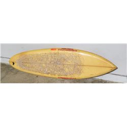 "Surfboard: ""Hawaiian Style Sunset Point"", Damaged Areas, Approx 19.5"" x 72"""