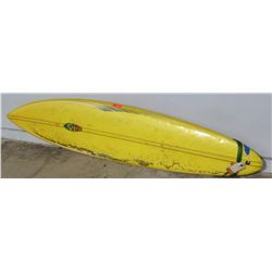 "Surfboard: Eaton Design, Yellow, Approx 21"" x 96"""