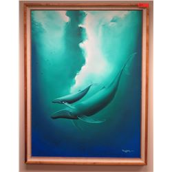 "Framed Art: Signed Original Wyland 1985, Mother & Calf, Humpback Whales 39.5"" x 51.75"""