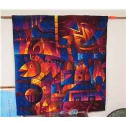"Woven Alpaca Tapestry, ""Peces En Ei Inti Raymi I"" Fish Motif by Maximo Laura, Signed Approx 45"" x 45"