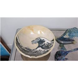 Japanese Footed Glazed Bowl, Glass Wave Sculpture, Whale's Tail
