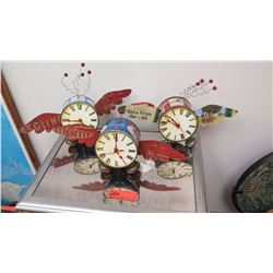 "Qty 3 Nostalgia Time Flies ""Tin Can"" Clocks, Handcrafted, Signed by Artist 2015"