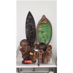 Misc. Carved Wooden Containers, Coconut Candleholders, Mentawai Map Boards