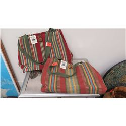 """Qty 2 Red Handwoven Bags, """"The Weavery"""""""