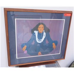 Framed Art: Woman with Pikake Lei by Pegge Hopper 1979