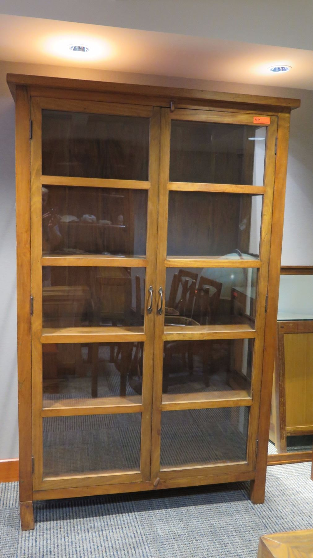 Tall Teak Cabinet Wglass Doors 2 Left Legs Were Sawed Off To Get