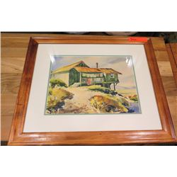 Framed Art: Original Watercolor, House on a Hill, by Cy. Lemmon 1973, Signed 22x19