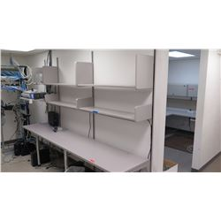 Workstation Utility Desk with Overhead Metal Shelving System