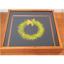 "Feather Lei in Glass/Wooden Frame, Dyed Yellow & Green 19"" x 19"" by Boris Kekaiuluikahikina Huang"