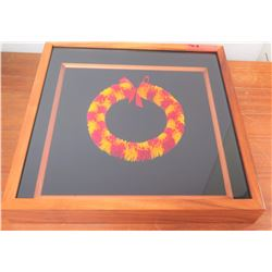 "Feather Lei in Glass/Wooden Frame, Cylindrical, Dyed Yellow & Red 19"" x 19"" by Boris Kekaiuluikahiki"