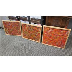 "Framed Art: 3 pcs - Original Oil on Canvas, Abstract, Signed ""Virginia 6/08"" Approx 21"" x 17.5"", (2)"