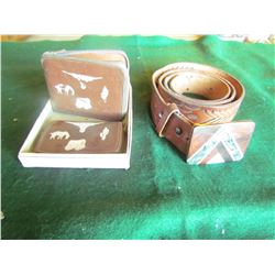 western leather wallet set with leather 48 inch belt