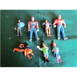 8 sm collectible action figures and marble game