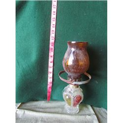 11inch Decorative oil lamp brown glass and colored glass