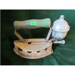 antique gas iron with handle
