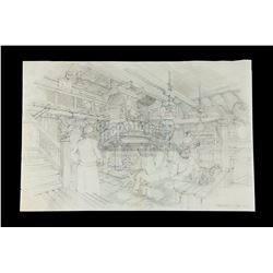 INDIANA JONES AND THE RAIDERS OF THE LOST ARK (1981) - Norman Reynolds Hand-Drawn Raven Bar Interior