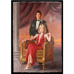 SCARFACE (1983) - Hand-Painted Mansion Portrait of Tony Montana (Al Pacino) and Elvira Hancock (Mich